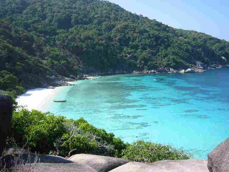 View of Similan Island #8 from above from Phuket dash Scuba.