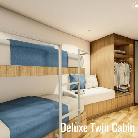 Deep Andaman Queen deluxe twin bed cabin from Phuket dash Scuba (www.phuket-scuba.com), your personal Thailand liveaboard adviser