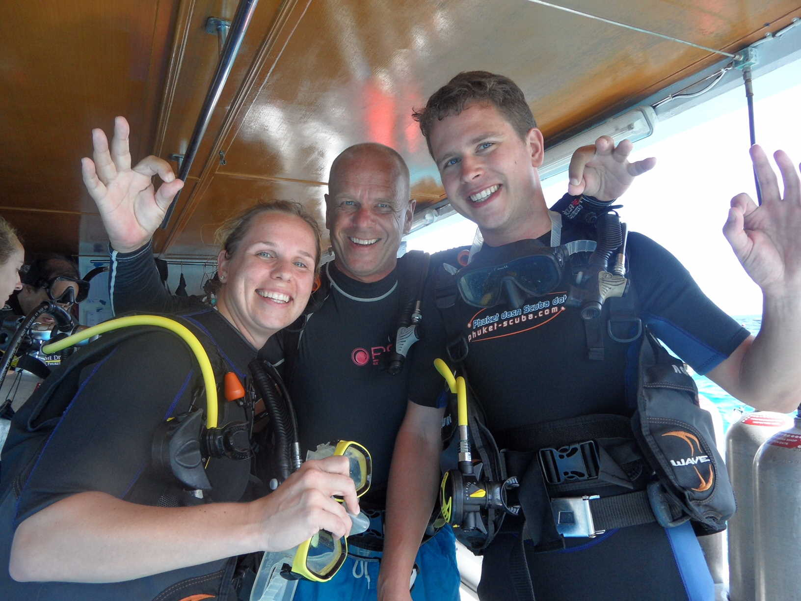 Steven with open water students on the Phuket dash Scuba diveboat.
